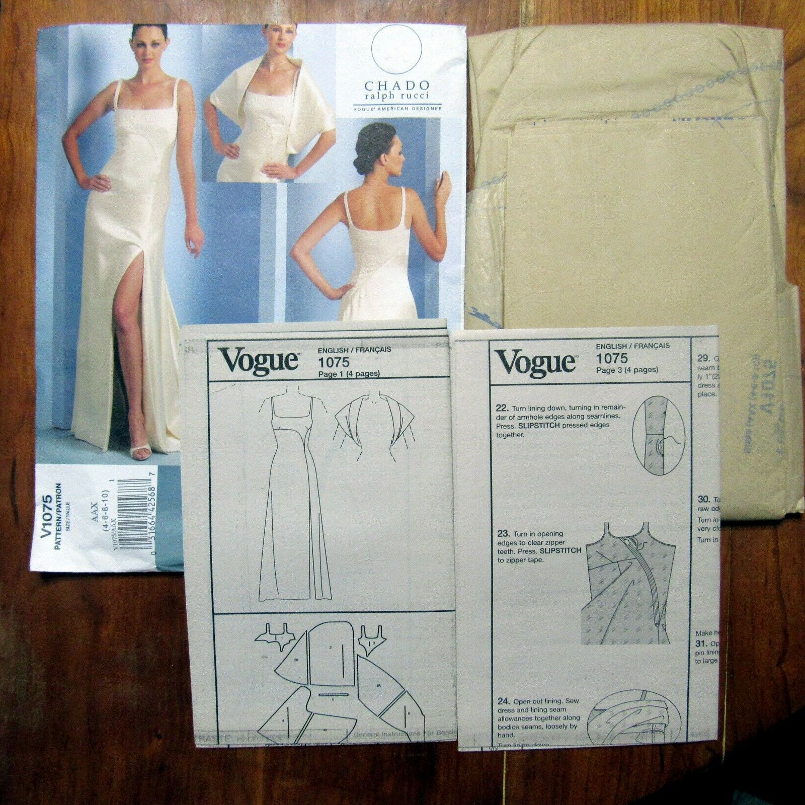 Vogue Chado Ralph Rucci Pattern Evening Gown Stole Uncut FF Prom Formal  V1075