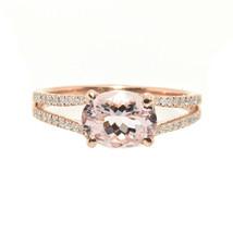 1.29 Carat Morganite And Diamond Split Shank Ring In 14k Rose Gold (29471) - $479.16