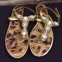 Sam Edelman Sz 9 Ross Beaded Crystal Sandals GOLD Flats Leather Women's Shoe EUC - $29.69