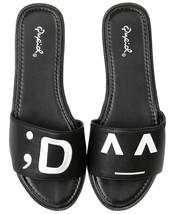 Qupid Glenn-04 Black PU Emoticon Slides Slip-On Sandals, US 5.5 - $18.80