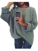 Fashion Women Loose V Neck Casual Long Oversized Knitted Sweater - $20.00