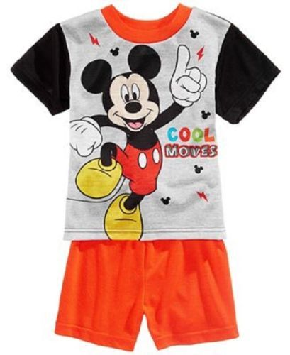 2T Toddler Boy's Pajamas Mickey Mouse 2-Piece Set Shirt and Shorts Cool Moves