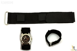 18mm Nylon Woven Black Watch Band Strap Stainless Steel  Ring - $8.50