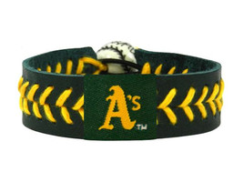 MLB Oakland A's Athletics Team Color Leather Baseball Bracelet - $12.99