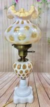 VINTAGE FENTON HONEYSUCKLE OPALESCENT COIN DOT LAMP - $242.55