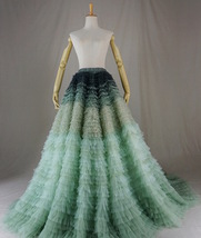 Women Tiered Maxi Tulle Skirt Wedding Bridal Train Skirt Outfit Evening Skirts image 6