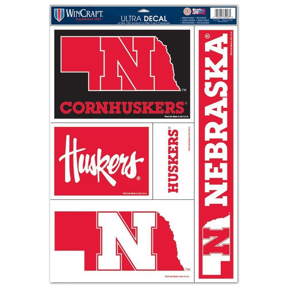 "NEBRASKA HUSKERS ULTRA FILM DECALS BEAN BAG TOSS, CAR, SHEET of 5 SIZE 11"" X 17"""