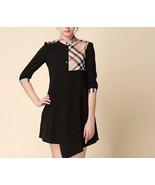 New Boutique London Trench Tunic Dress Nova Check Plaid Black S M - $49.99