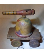 Antique Hand Made Wooden Pull TOY Wheels Cannon Gun Turret Map Crimea Ba... - $282.15