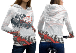 Racing Track Pullover Fullprint Hoodie For Women - $55.99