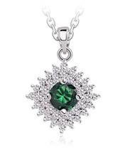 Green Cubic Zirconia Elements Rhinestone Pendant Necklace Fashi - $104.21