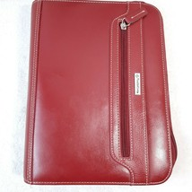 Franklin Covey Red Leather Classic Zipper Day Planner Organizer binder c... - $87.88