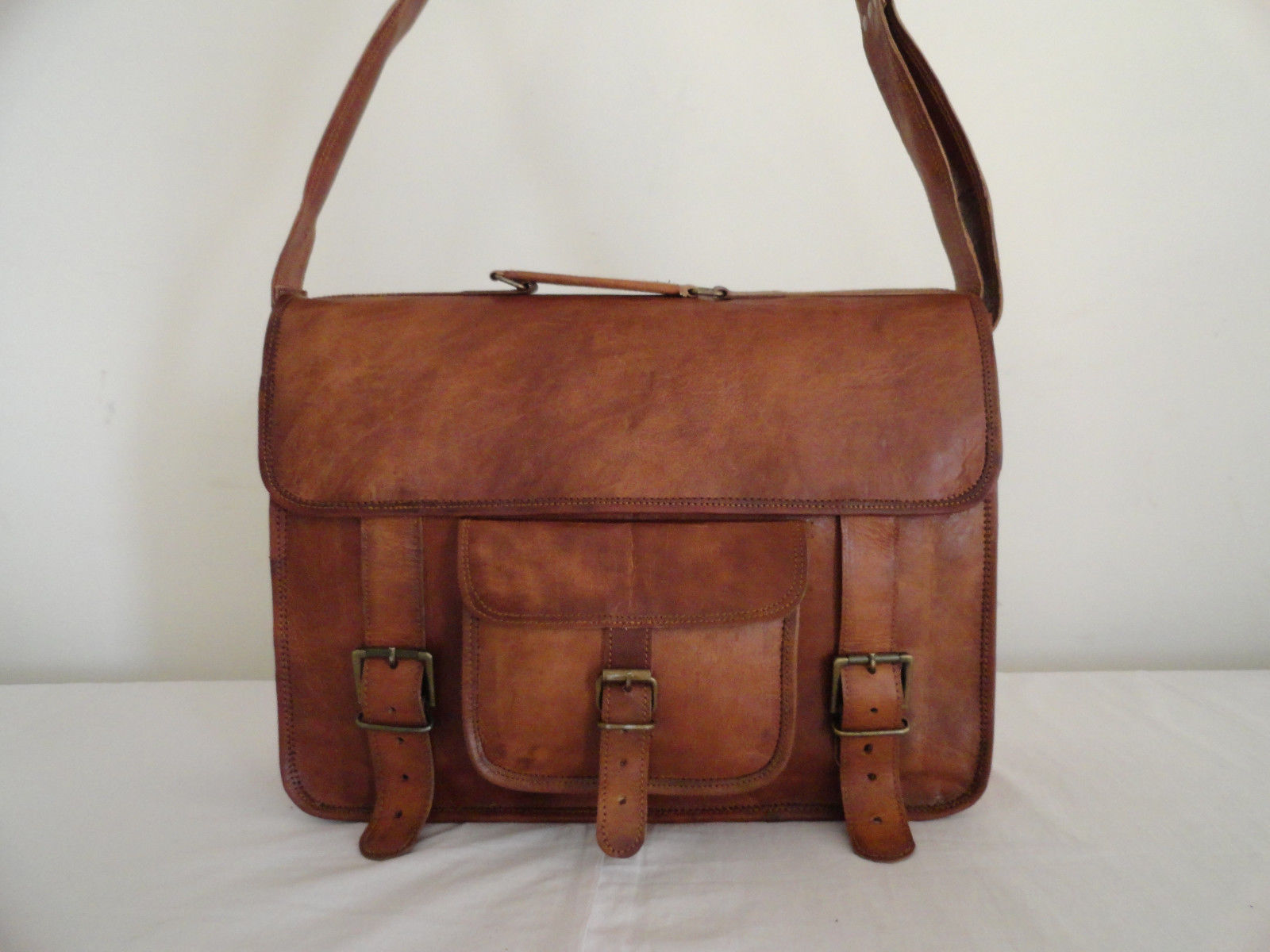 Brown Leather Briefcase Satchel Laptop MacBook Attache Suitcase Brown Bag