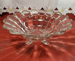 "VINTAGE  American Four Footed Glass Bowl w Flared Top Edge 10""x4"""