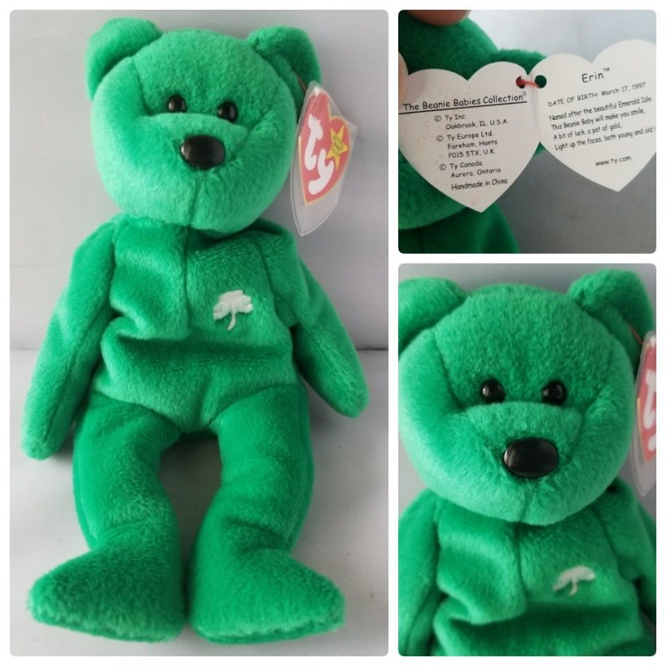 ff7366b8316 57. 57. Ty Beanie Baby Erin St. Patrick s Day Green Irish Bear 5th  Generation P.E. · Ty Beanie Baby Erin ...