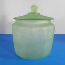 Anchor Hocking PRINCESS Cookie Jar with Lid Green Frosted Depression Glass - $23.71