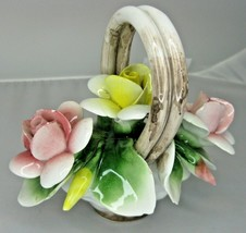 Nuova Capodimonte Small Basket of Flowers Roses Pink & Yellow Porcelain ... - $29.69