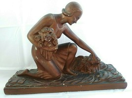 Antique French Art Deco Plaster Statue Lady Gatherer With Bouquet Of Roses  - $250.00
