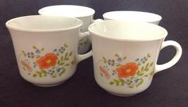 4 White Vintage Corelle Wildflower Corning Ware Mugs Mug Cups Coffee Tea Lot Set - $14.84