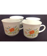4 White Vintage Corelle Wildflower Corning Ware Mugs Mug Cups Coffee Tea... - $14.84