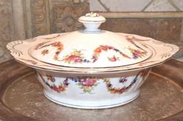 EPIAG Fine China Czechoslovakia 9195 White Soup Tureen Lid Floral Swag P... - $79.99