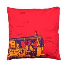Fatfatiya Canvas & Satin Multicolor Orange Taxi Cushion Cover - $35.00