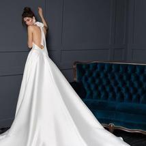 New Arrivals Satin Sheath Wedding Dresses  Beaded Crystal Waist Sexy Backless Ha image 4