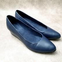 Easy Spirit Womens Abelle Sz 9 M Blue Leather Slip On Low Wedge Heels - $34.99