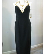 Formal Crepe Gown With Gold Beaded Collar Size ... - $68.00