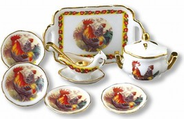 Dollhouse Miniature Rooster Serving Dinner Set Reutter 1.387/8 service f... - $35.00