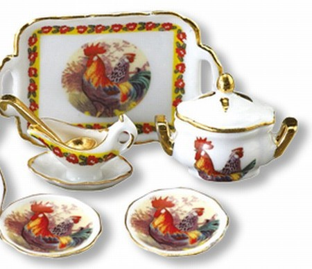 Dollhouse Miniature Rooster Serving Dinner Set Reutter 1.387/8 service for 4
