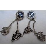 Harley Davidson Dangling Drop Earrings Pierced Rose Eagle Silvertone - $20.00
