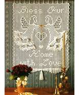 """Y233 Filet Crochet PATTERN ONLY """"Bless Our Home with Love"""" Wall Hanging ... - $7.45"""