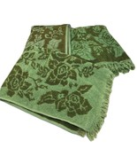 Towels Vintage Green Bath and Two Hand Sculpted Fringe Retro Mid Century - $49.50