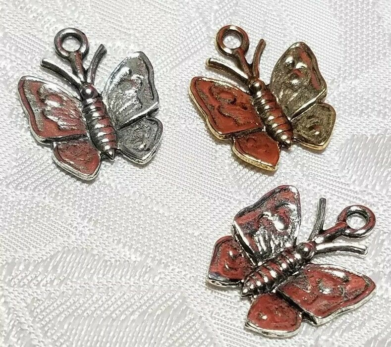BUTTERFLY FINE PEWTER CHARM - 17x21x2mm