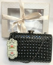 FASHION ONLY BLACK BEADED  BAG & DIAMANTE CLASP * BRAND NEW IN BOX * WED... - $28.59