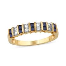 10k Yellow Gold Princess Cut Blue Sapphire 1/10CT TW Diamond Women's Ring - $289.99