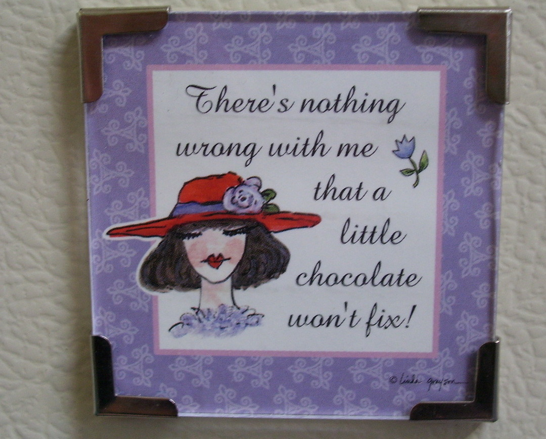Primary image for Linda Grayson gift magnet Red hat lady chocolate fix new