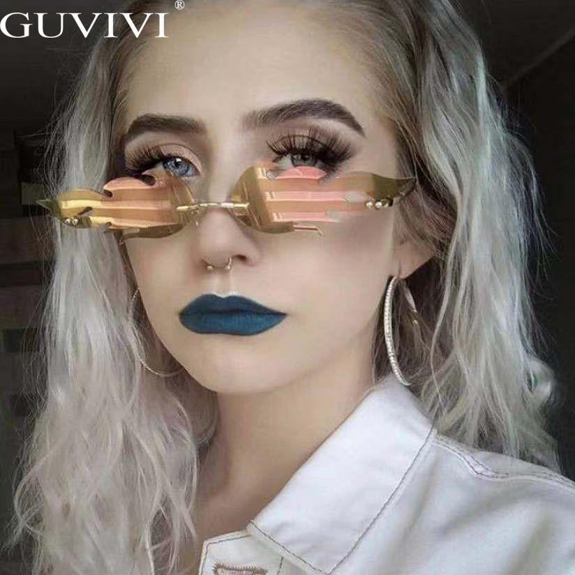 Flame sunglasses women metal steampunk frameless trend cat eye sunglasses men retro small mirror