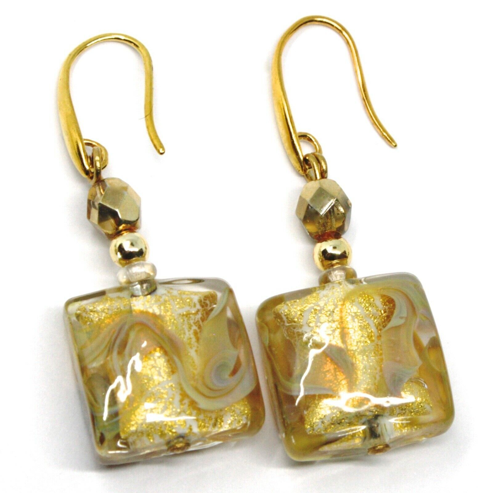 PENDANT EARRINGS WITH WHITE MURANO SQUARE GLASS & GOLD LEAF, MADE IN ITALY, 5cm