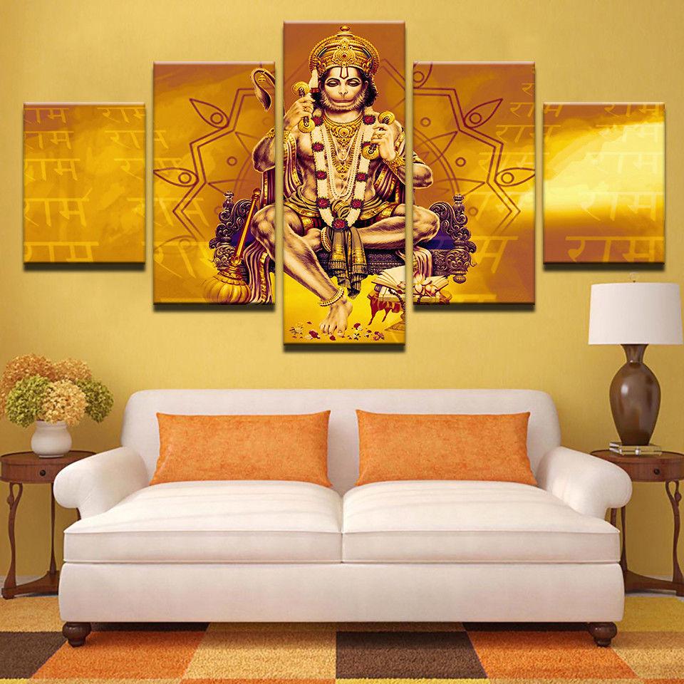 5 panel Lord Hanuman Shri Ram Monkey Frame and 50 similar items