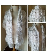 Hand Made Vintage Shawl Sweater Sparkly White Winter Crochet Knit Wrap T... - $33.70
