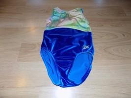 Child Size Medium GK Elite Royal Blue Multicolor Velour Dance Gymnastics... - $18.00