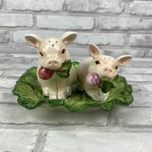 Fitz & Floyd Classics French Market Pig Salt And Pepper Shakers With Tray  - $70.62