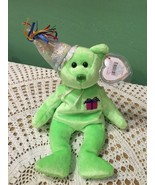 Ty Beanie Baby Bear August Green with Birthday Hat Childrens Toy - $6.15