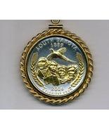 State of South Dakota, 2-Toned, Gold on Silver U.S. Quarter Pendant Neck... - $132.00