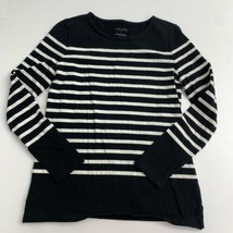 Talbots Pullover Sweater Women's S Black White Striped Long Sleeve Cotto... - $18.95