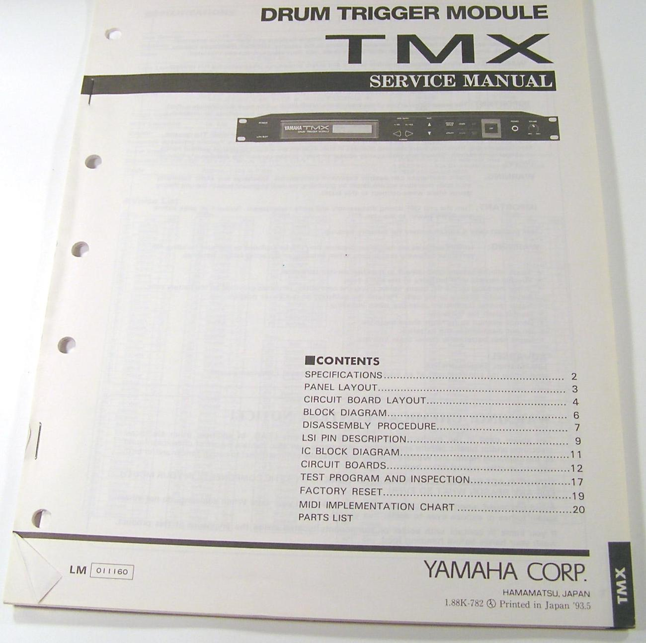 yamaha tmx drum trigger module service manual electronic drums. Black Bedroom Furniture Sets. Home Design Ideas