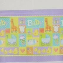 baby shower party table cover duck giraffe onsie stroller design - $2.08