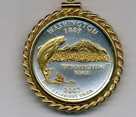 State of Washington, 2-Toned, Gold on Silver, U.S Quarter Pendant Necklace